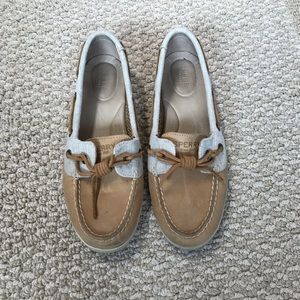 Tan and Creme Sperrys